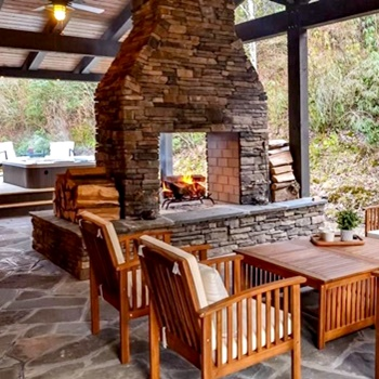 heavy timber outdoor kitchen and porch